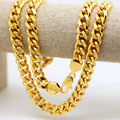 "10mm 24K Gold Plated Rocky Miami Jay-z Cuban Link Chain Fashion Hiphop 8 Cuts Chain 30""inches Long Men's Golden Necklace AD"