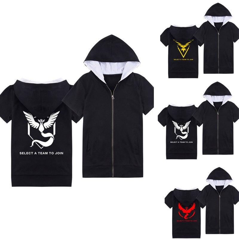 Men Women Pokemon Go Team Valor Team Mystic Team Instinct T Shirt Cosplay Sweater pokeball shirt