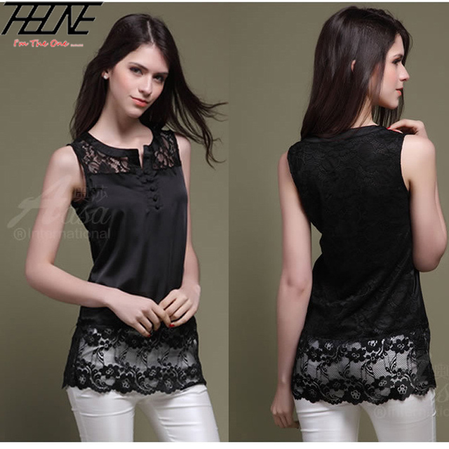 1eb72a4afe306 Summer Women Lace Tank Tops Long Sexy Hollow Out Sleeveless Silk Shirt High  Quality Black S-L