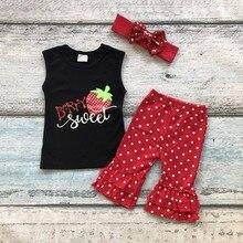 Été coton outfit bébé filles vêtements Fraise enfants doux berry vêtements capri sans manches ruches correspondant accessoires arc
