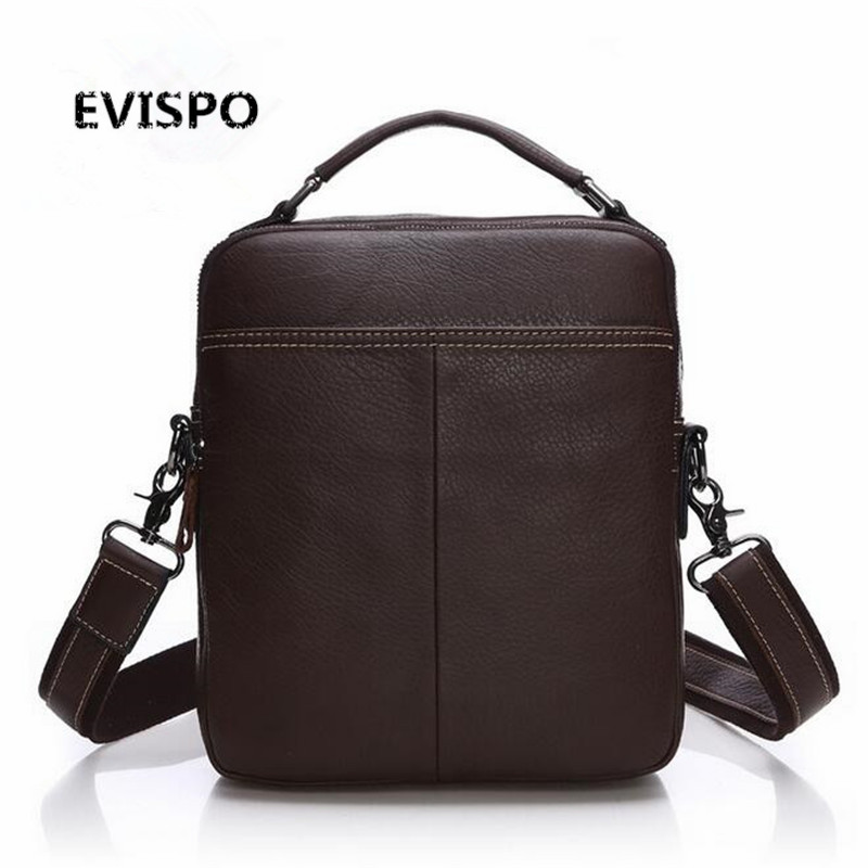 EVISPO Genuine Leather Man Bag Business Crossbody Bags Portable Briefcase Laptop Handbag Casual Purse Sacoche Homme Marque portable genuine leather man briefcase economic document bag 7060309