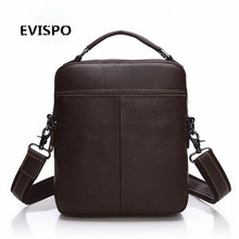 EVISPO Genuine Leather Man Bag Business Crossbody Bags Portable Briefcase Laptop Handbag Casual Purse Sacoche Homme Marque
