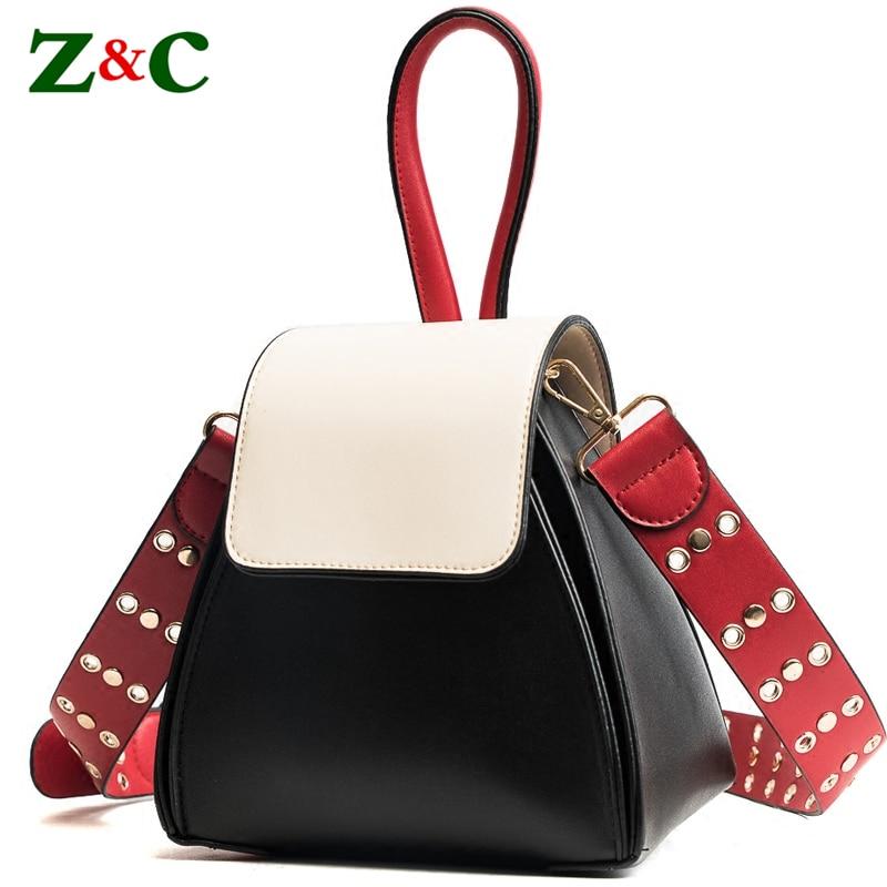 New 2018 Designer Brand Small Bucket Tote Bag Leather Handbags Women Messenger Bags Luxury Shoulder Bag Wide Strap Crossbody Bag