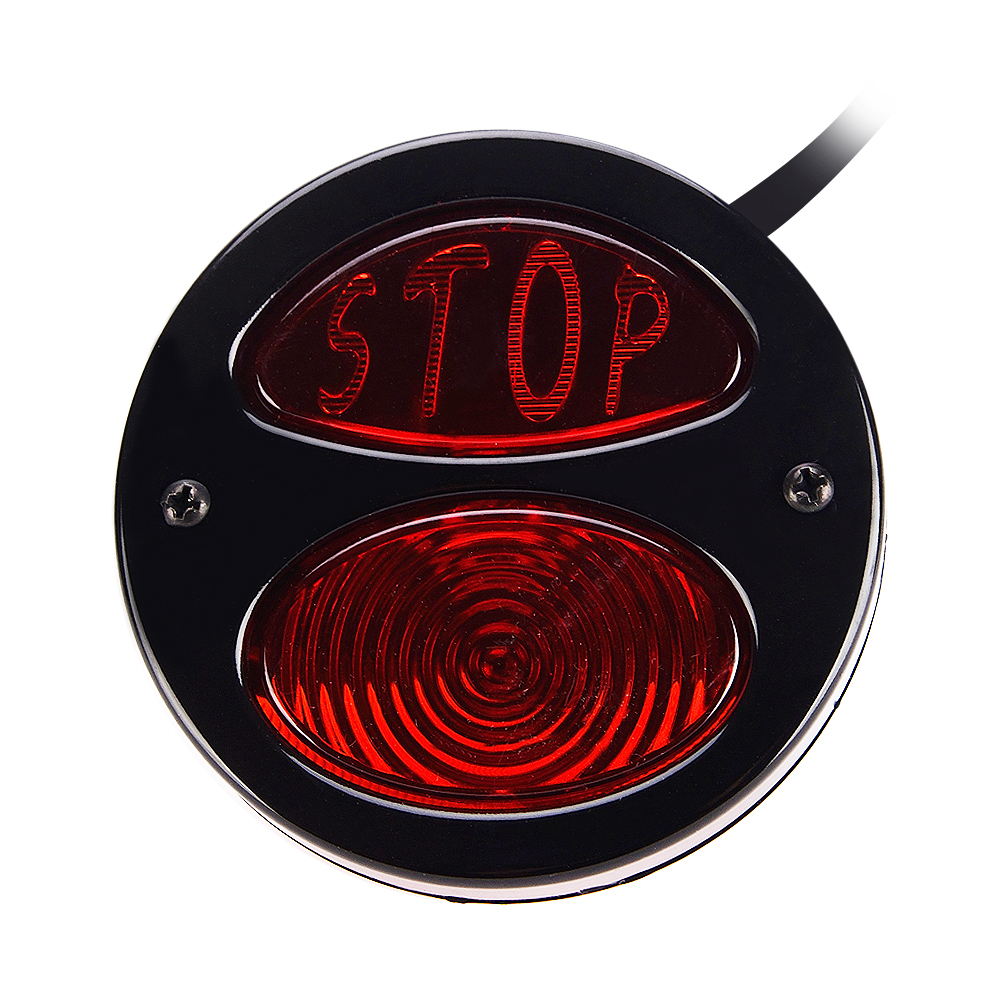 12V Motorcycle Modified Taillight LED Stop Lamp with Black Plating Shell and Red Cover