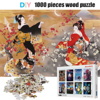 Japanese Geisha Puzzle 1000 Pieces Wooden Assembling Puzzles Game Adult Toys