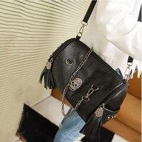 Vogue Women Skull Punk Leather Goth Tassel Messenger Shoulder Bag Tote Handbag