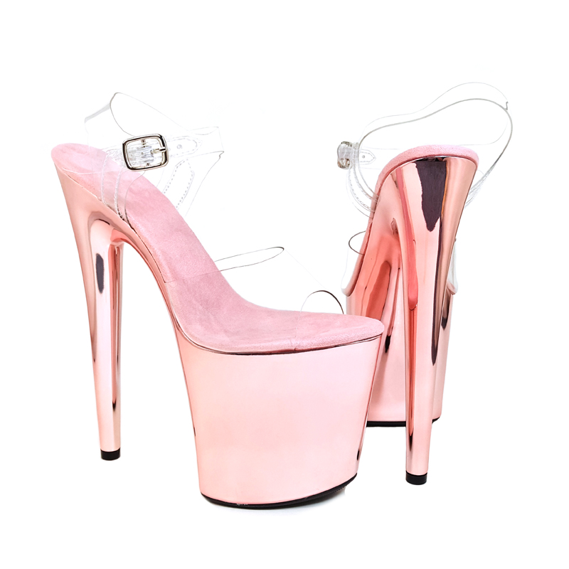 Leecabe New Champagne color high heel sandals 20cm sexy model show shoes and pole dancing shoes 20cm pole dancing sexy ultra high knee high boots with pure color sexy dancer high heeled lap dancing shoes