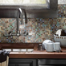 12x12 Mirror Color Puzzle Peel and Stick Tile Metal Backsplash for Bathroom Stove Walls Self-Adhesive 3D Wall Sticker 4 Packs