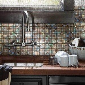 Rompecabezas de Color espejo de 12 pulgadas x 12 pulgadas, azulejo de cáscara y Palo, salpicadero de Metal para baño, estufa, paredes, autoadhesivo 3D, pegatina de pared, 4 paquetes