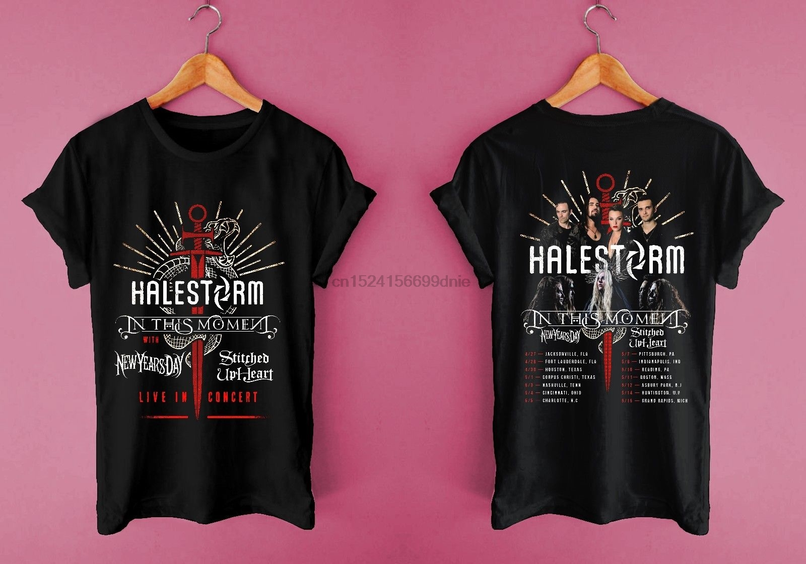 New Halestorm In This Moment Tour 2018 Concert Casual Wear Unisex T
