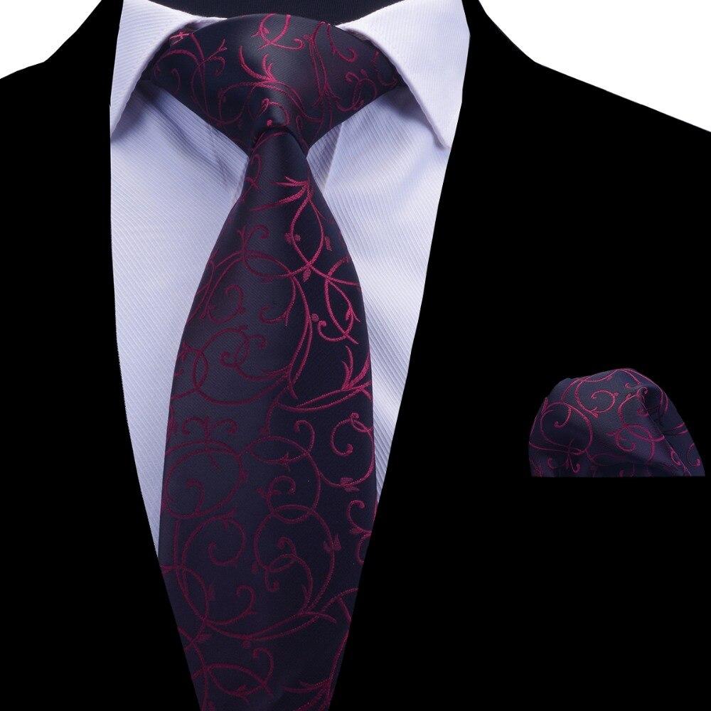 Ricnais Floral Tie Set For Men Blue Silver Tie And Handkerchief Wine Red Necktie Man Corbatas Hombre Pocket Square Wedding Tie