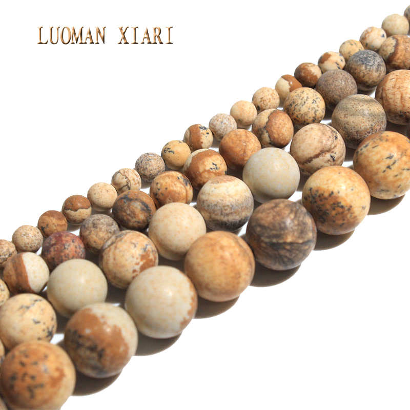Natural Dull Polish Picture Jasper Matte Stone Beads For Jewelry Making DIY Bracelet Necklace Material 4/6/8/10 mm Strand 15Natural Dull Polish Picture Jasper Matte Stone Beads For Jewelry Making DIY Bracelet Necklace Material 4/6/8/10 mm Strand 15