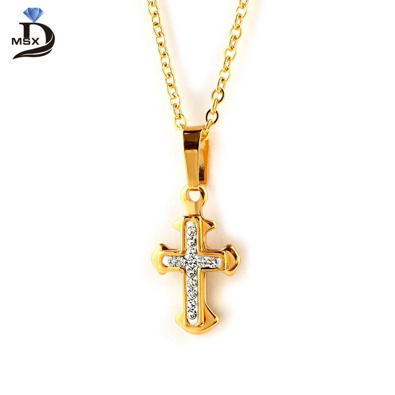 MSX Элегантный Крест Micro Pave подвеска Кристалл Цепочки и ожерелья мода позолота высокое качество Нержавеющаясталь Для женщин Jewelry Подвеска