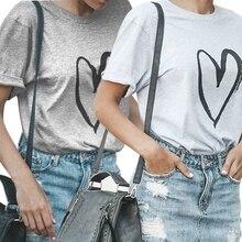 Womens Love Cursive Heart Design Cute Relationship Girly T Shirt