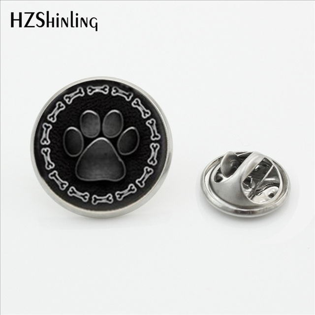 Attractive 2017 HOT Paw Print Jewelry With Dog Bone Border Stainless Steel Lapel Pins  Art Gift Round