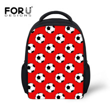 FORUDESIGNS School Bags Red 3D Foot Ball Pattern Kids Backpa