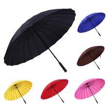 Большие Женщины зонтик Дождь Женщины 24 К Ветрозащитный мужской Трость Зонтики Мужчин радуга Гольф Вс Paraguas Цветастый Зонт Трость