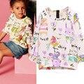 2016 Chicas Camisetas de Algodón de Manga Larga camiseta de Los Niños de Dibujos Animados de Graffiti Camiseta de Los Niños Niñas Ropa Dropshipping Otoño Chica Tops