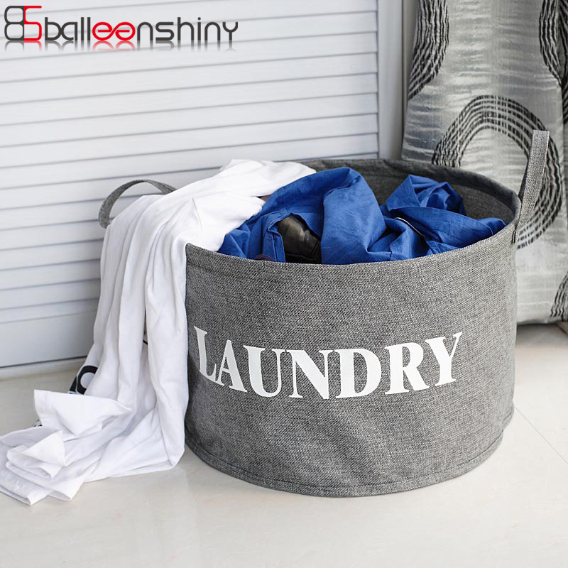 BalleenShiny polyester and linen fabric Linen Foldable Buckets Clothes Washing Laundry Basket Storage Organizer Bag Bathroom
