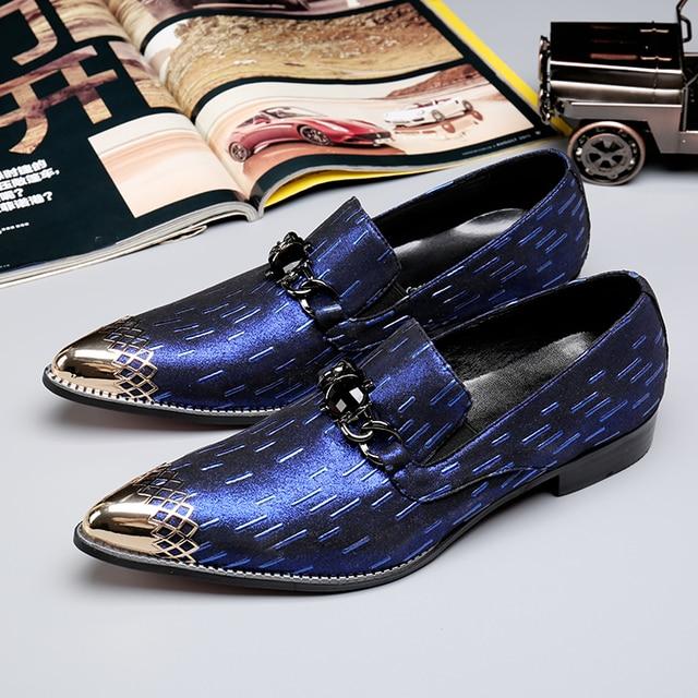 Diamond Wedding Dresses Shoes Chains Men Prom Shoes Gold Metallic Mens Blue Dress Shoes
