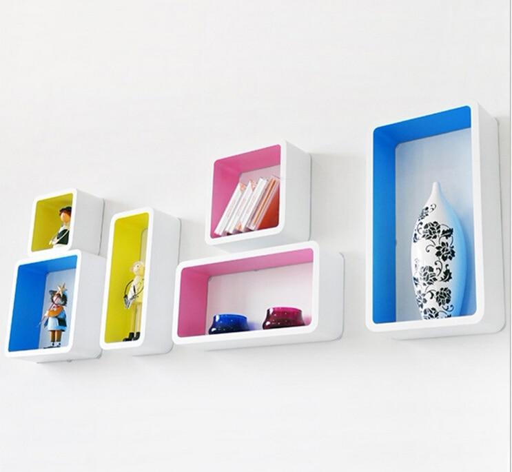 6pieces / lot Dekorativní nástěnné police Dřevěné stěny bílé s barevnými policemi Moderní 3D nástěnné nálepky Korejské nástěnné police