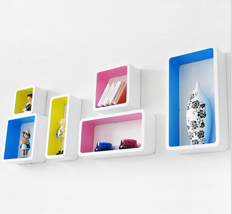 6pieces lot decorative wall shelves wood wall white with colorful shelves modern 3d wall sticker - Decorative Wall Shelves
