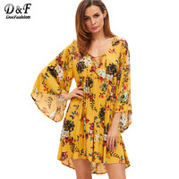 Dotfashion Lace Up Boho Dress Women Yellow Floral V Neck Bell Sleeve Beach Summer Dresses 2017