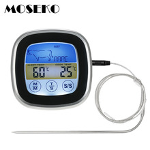 MOSEKO Digitale Kleurrijke Touchscreen Oven Thermometer Instant Lees Probe Koken Eten BBQ Keuken Thermometer met Timer Alert
