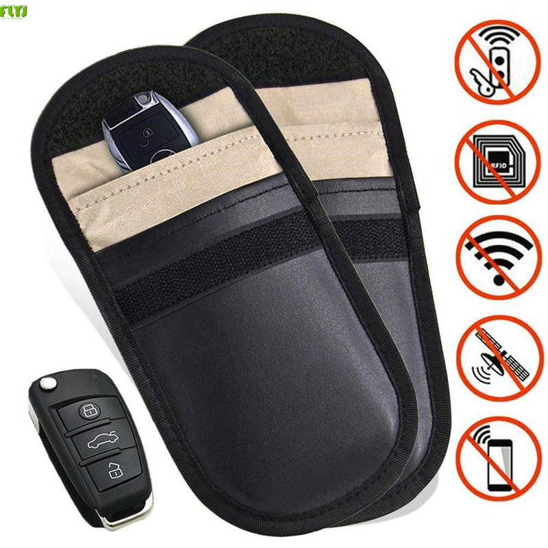 FLYJ 1Pcs Car Key Bag Car Fob Signal Blocker Faraday Bag Signal Blocking Bag Shielding Pouch Wallet Case For Privacy Protection(China)