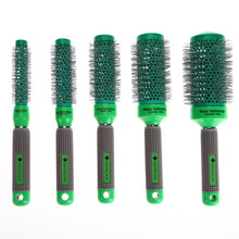5 Sizes Pro Hair Temperature Color Change Combs Ceramic Iron Radial Round Comb Brushes Barrel Curler Brush Salon Styling Tools