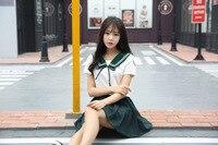 High Quality Girl Japanese Uniform Sailor School Uniform Set Plus Size XL White Green Skirt Short
