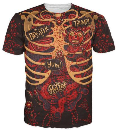 Day of the Dead Anatomy T SHIRT FUNNY DESIGN 3D UNISEX ALL OVER ...