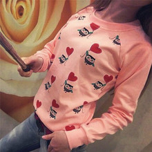 hot Women Long Sleeve Cute Owl Print Top Casual Blouse Shirt free shipping and wholesales