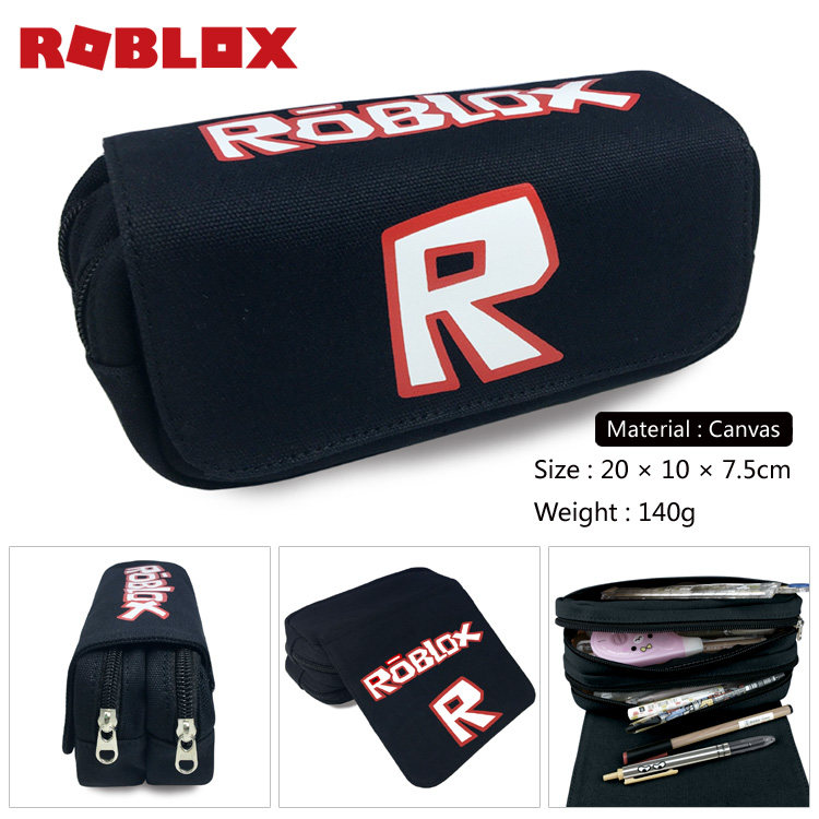 Roblox Cartoon Pencil Case Canvas Zipper Big Capacity Pen Bag Women Handbags Makeup Children Boys Girls Stationery Pouch big capacity high quality canvas shark double layers pen pencil holder makeup case bag for school student with combination coded lock