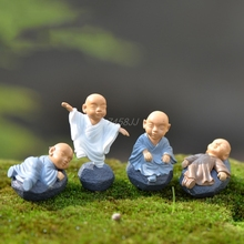 цена на Monk Figure Ornaments Kung Fu Doll Toy Mini Dollhouse Bonsai Garden Decor Gift Drop ship