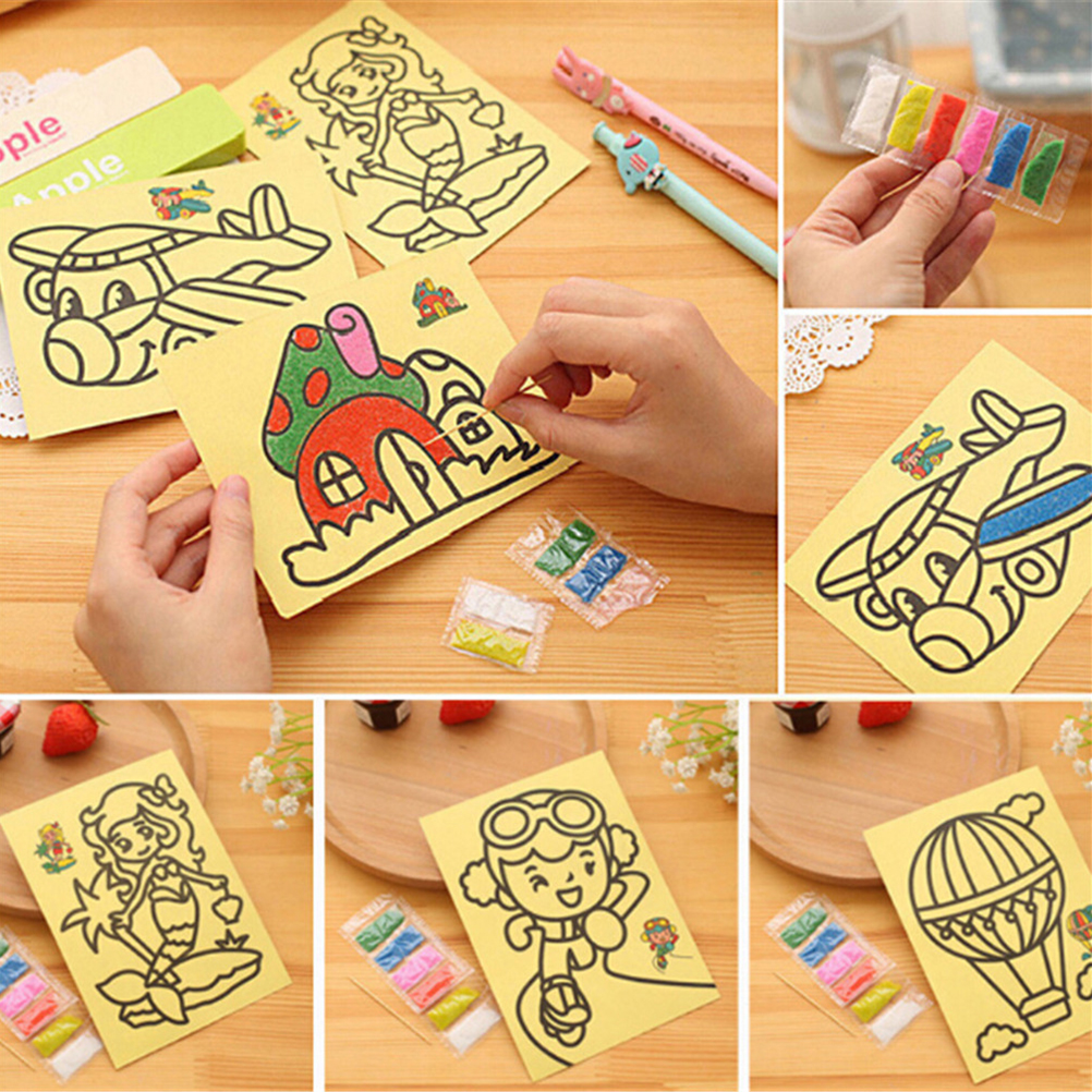 5pcs/lot DIY Color Sand Painting Kids Art Creative Drawing Toys Sand Paper Art Crafts Toys For Children