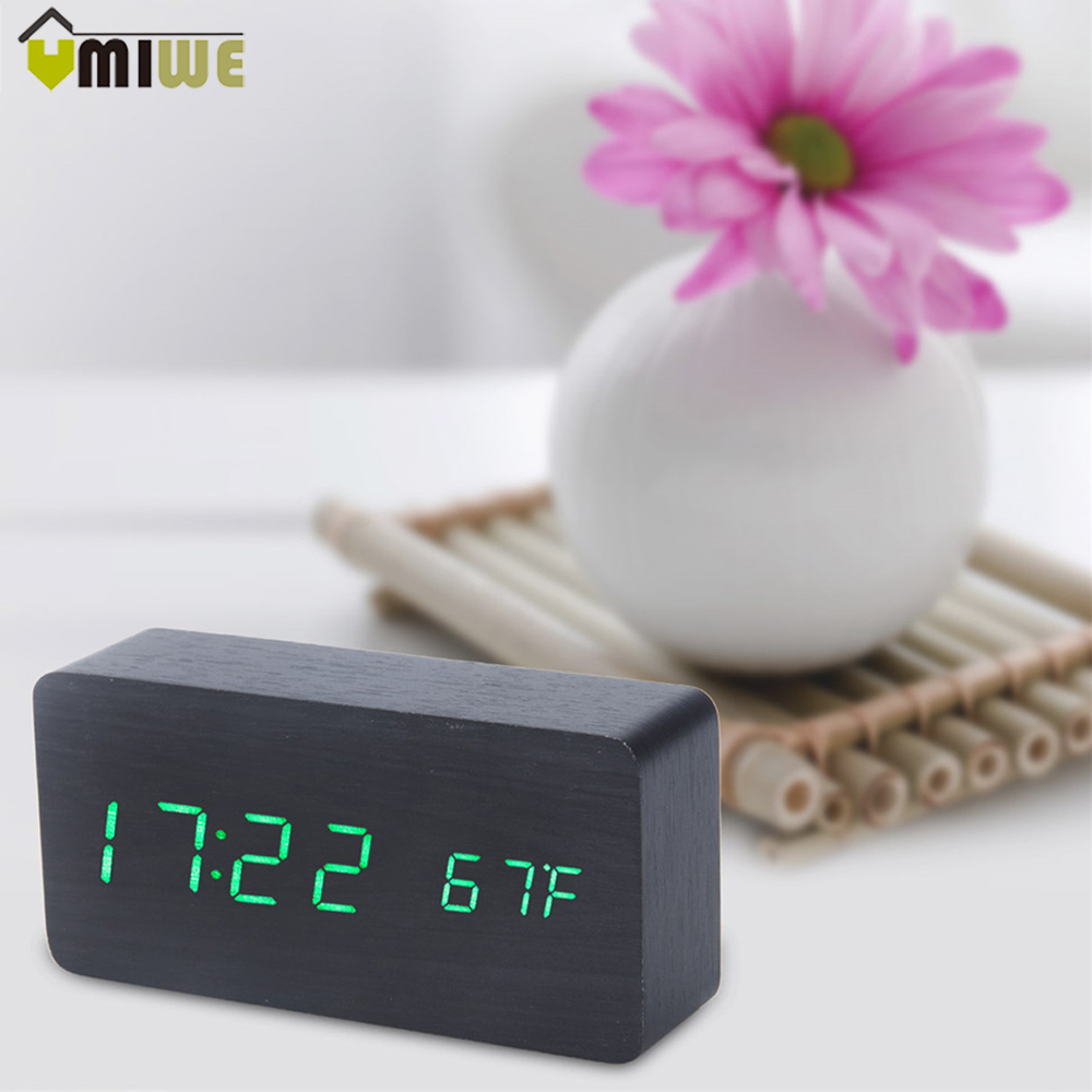 Suncree Wooden Led Alarm Clock Display Date Time Celsius Fahrenheit Desktop Bluetooth Speaker Jam Meja Creative Digital Night Light Snooze Wood Bedside Calendar Temperature Backlight