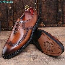 2019 Classic Black Brown Genuine Leather Business Shoes Men Luxury Brand Lace Up Round Toe Formal Dress Derbies Shoes black patchwork plain toe lace up derbies