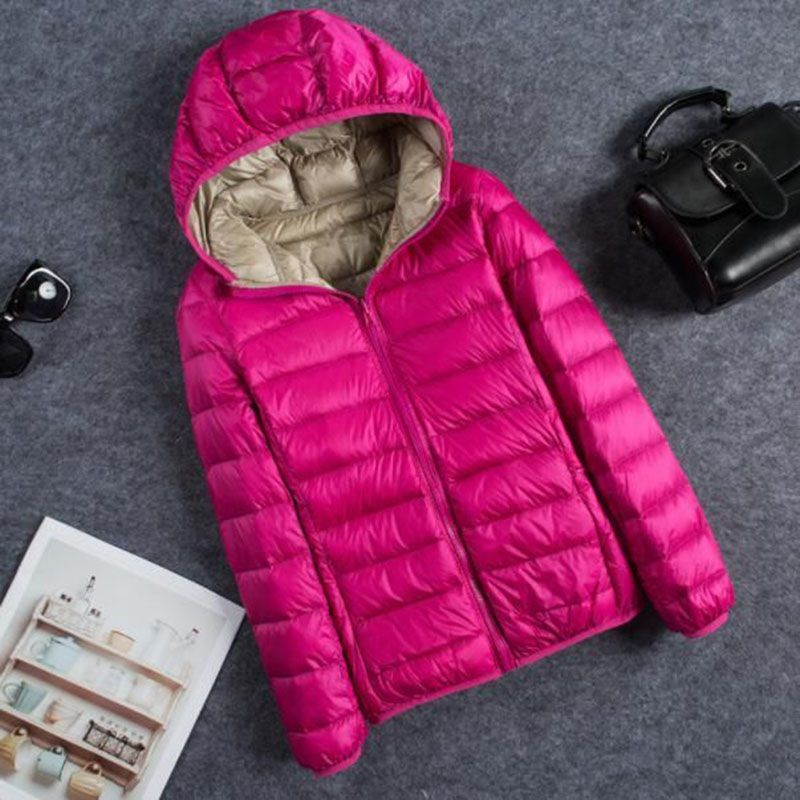 New Autumn Winter Hooded Ultra Light   Down   Jacket Women With Carry Bag Travel Double Side Reversible Warm   Coat   Plus Size Parka