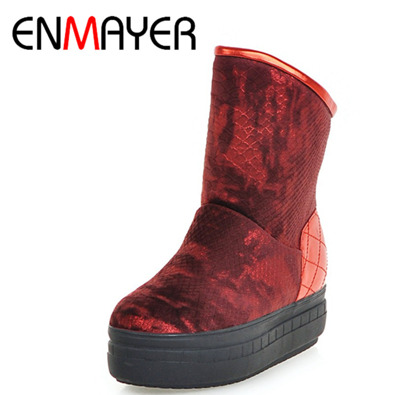 ФОТО ENMAYER New Ankle Boots for Women Flats Shoes Large Size 34-43 Sexy Red Platform Shoes Round Toe Slip-on Winter Boots Snow Boots