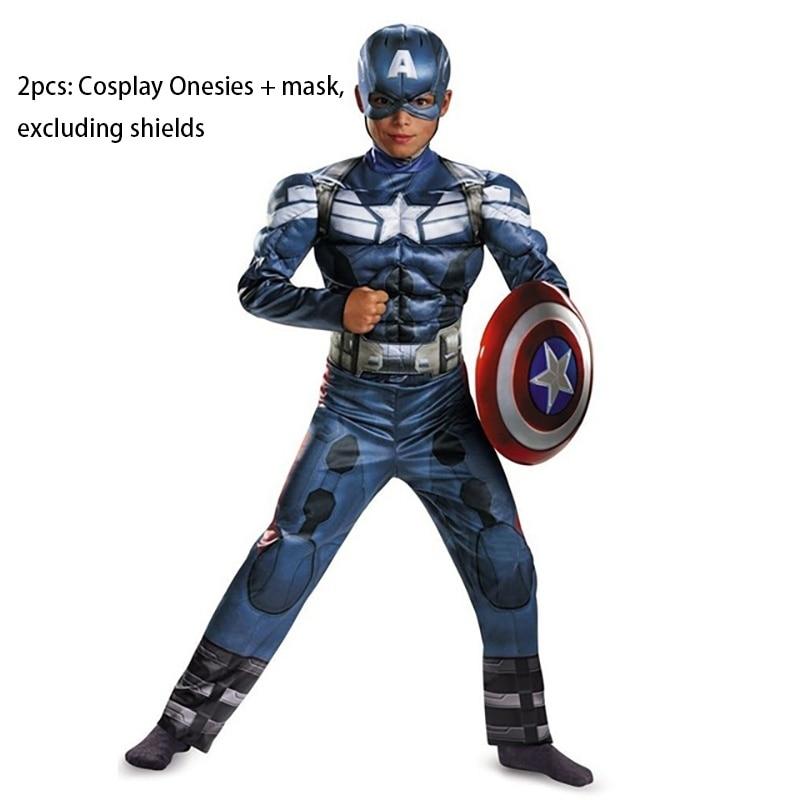 Genuine Boys Captain America Costume Movie 2 Muscle Anime Superhero Superman Cosplay Avengers Halloween Costumes For Kids