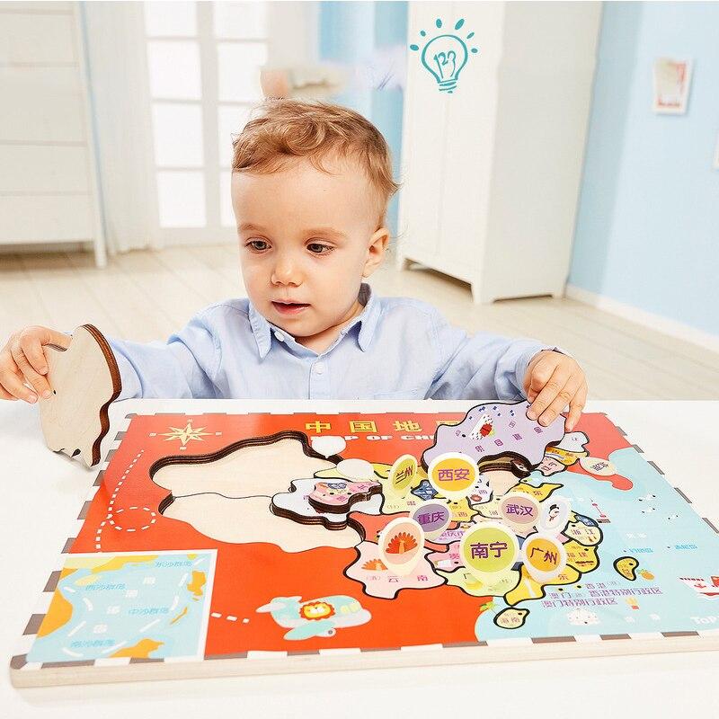 Tebao Enfants Bébé Intellectuelle Puzzle en bois Enfants de Chine Carte Monde Double-face de Puzzle Enfants Jouets