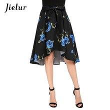 51ea421ff1d8 Jielur Sexy Girls Flowers Printed Summer Skirts for Women Asymmetrical  Retro Red Blue Skirt Female S-XXL Elegant Bowknot Faldas