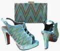 2017 новый дизайн Итальянской Обуви С Соответствующими Мешки Африканские Женская Обувь и Сумки, Установленные в waterblue Хорошие Продажи! JA115-2