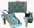 2017 new design  Italian Shoes With Matching Bags African Women Shoes and Bags Set in waterblue Good Selling!!JA115-2