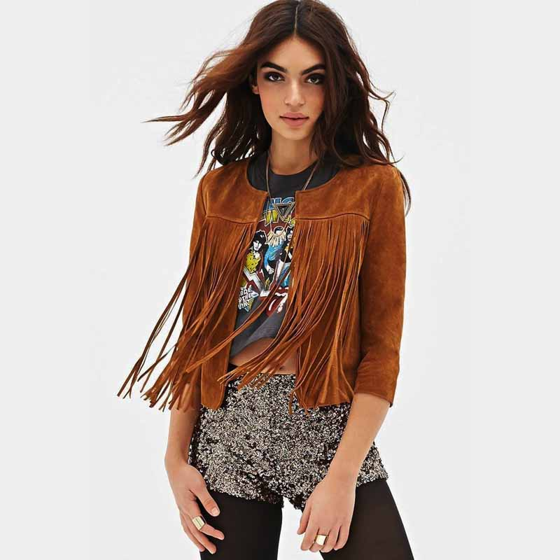 Women's Brown Faux Suede Fringe Jackets Autumn Winter 2015 New Fashion Ladies Leather Coats Chaqueta Vaquera Mujer - A&B Fast store