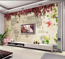 3D photo wallpaper personalized Romantic flower letter map of the world hotel living room backdrop mural wall paper(China)