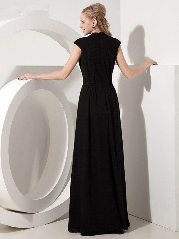 Noir 2019 mère de la mariée robes a-ligne col en v Cap manches en mousseline de soie plissée longue élégante marié mère robes de mariée - 2