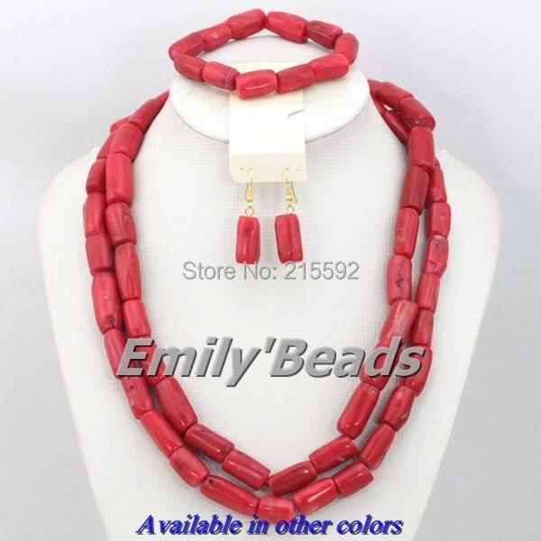 2745377c56234 جديد تصميم الأحمر الوردي زي الأفريقية النيجيري الزفاف الخرز الأفريقي مجوهرات  الزفاف مجموعة شحن مجاني CJ282