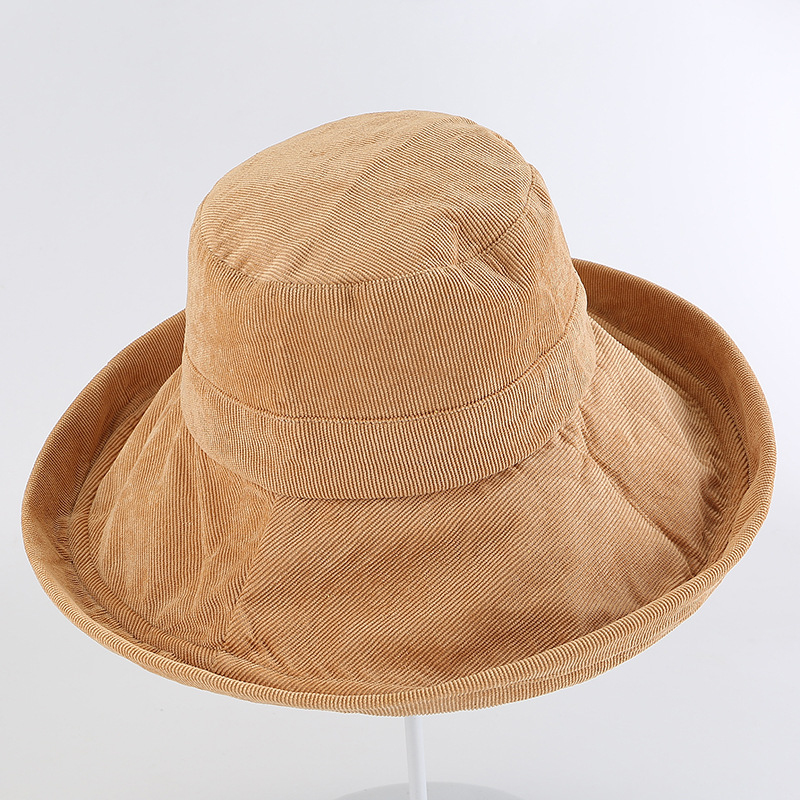 6f1fa29c92c HT1956 Autumn Winter Bucket Hats Big Wide Brim Sun Hats for Women Solid  Plain Corduroy Fishing Hats Ladies Fisherman Bucket Caps-in Bucket Hats  from Apparel ...